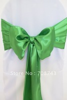 Free shipping -  kelly green satin chair cover sash /satin sash