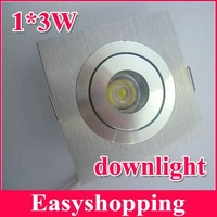 Free shipping 1*3w downlight 3w 85-265V led light lamp bulb square led celling light with CE RoHS 6pcs/lot