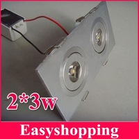 6pcs/lot Square led celling light 2*3w downlight 6w 85-265V led light lamp bulb with CE RoHS free shipping