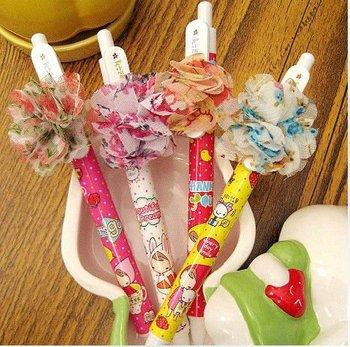 Korea cute girl gel ink pen with silk flowers/ novelty Korean stationery/ promotion gift/ kawaii stationery wholesale
