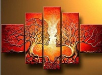100% Hand painted Red rich couples tree  Abstract  landscape Wall  home Decor Oil Painting on canvas 5pcs/set mixorde Framed