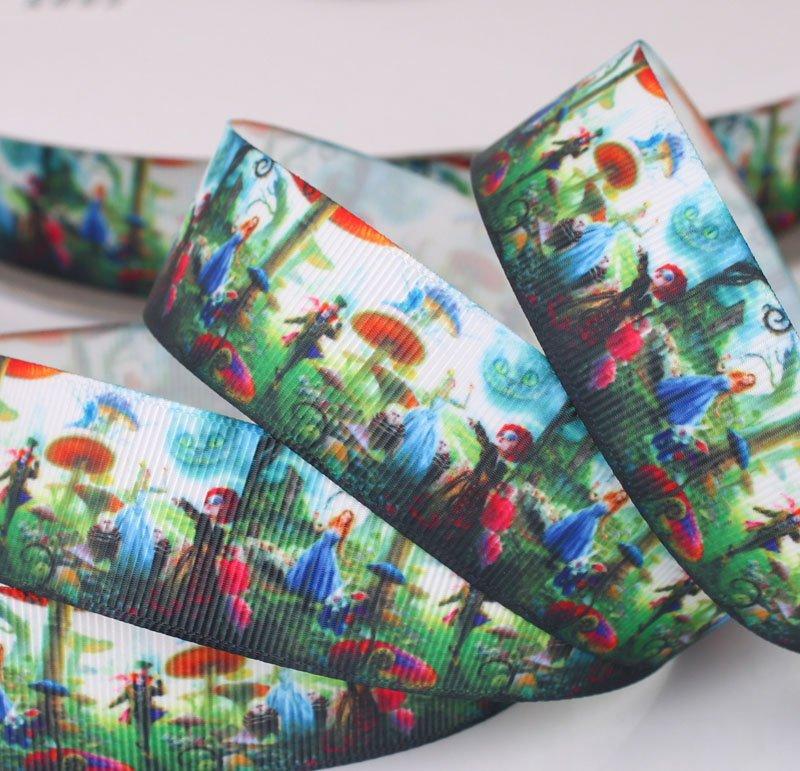 Mm  Inspired  Alice In  Wonderland  Printed Grosgrain Ribbon BOW
