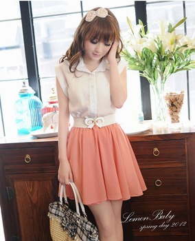 Dresses new fashion 2012, turn-down collar women shirt skirt, hot sale office lady daily one-piece, free shipping prom dress