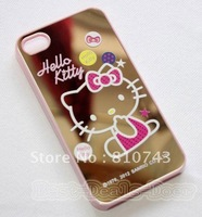free shipping 2PCS Cute Hello Kitty Mirror Face Hard Case Cover Skin for iPhone 4 G 4G 4S