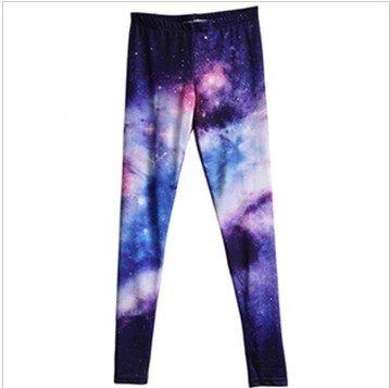 East Knitting KZ-009 Plus Size Women Galaxy pants Space Printed Shiny Leggings Women  FREE SHIPPING Best Quality