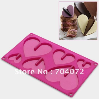 1pc muffin pan non-stick bakeware 6 cups  cake Cookie Icecream Sweet 3D heart chocolate  silicone mold  free shipping