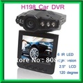 "Free shipping!H198 Car Camera 6 IR LED Car video recorder for night vision Car DVR with 2.5"" LCD Screen and 120 degree angel"