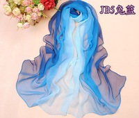 min order 10USD spring and summer silk scarf women's long design georgette cape with ruffle edge and graduated colour