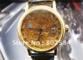 #QWJX021   Luxury Men's Golden Skeleton Automatic Watch,Genuine Leather Band Wrist Watch