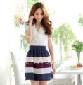2013 Free shipping v neck check beautiful lady fashion dresse TJ9950 summer fashion clothes