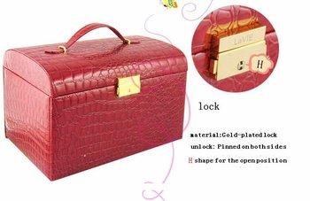 Crocodile  white Jewelry box / European butterflies leather cosmetic case / multi-storey  beauty case / Teachers' Day,  gift