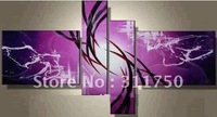 hand-painted oil wall art Purple clouds Home Decoration Modern Abstract Oil Painting on canvas 4pcs