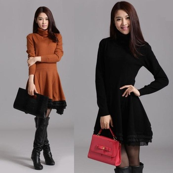 Women's Lace Knitted Cashmere Turtleneck Long Sweater Dress Wool One-piece Pullover Dress Free Shipping