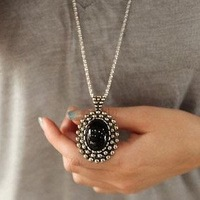 Min. order 12 pieces mix available,Retro black rhinestone necklace,4039.3138A. Free Shipping