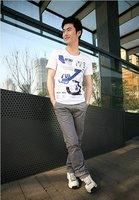 Freeshipping Summer  pure cotton round collar Korean edition Short sleeve Men's  t-shirt (Support Wholesale)