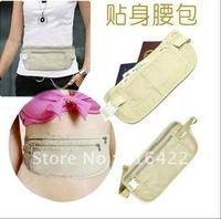 50PCS/LOT Travel Security Money Ticket Passport Holder waist packs fashion wallets Belt woman's purse bag