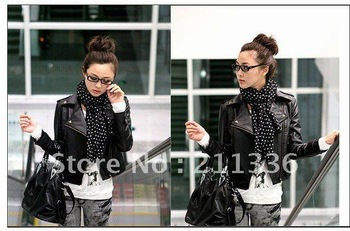 2012 fashion short money recreational coat lapel zipper rivet punk locomotive pu leather jacket(free shipping)