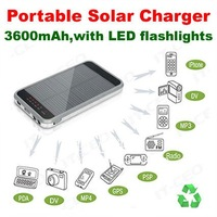 Free shipping!3600mAh Portable Solar Charger with LED Flashlight Spare power for CellPhones/MP3/MP4/MP5/Tablet PC/DC/DV/GPS/PSP