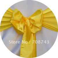Free shipping -  canary yellow satin chair cover sash /satin sash