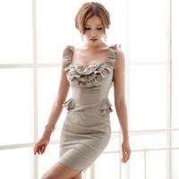 Free shipping French romantic lotus leaf slim style formal dress evning dress 118358