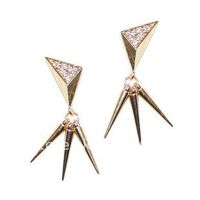 Free Shipping fashion punk rivet with Rhinestone drop earring 15 Pairs/lot,  Fashion Hot Selling Popular jewelry Free Shipping