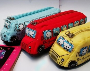Free Shipping~Value children's bus modeling of creative cute plush doll car pencil case stationery bags 10pcs/lot