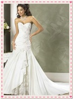 2012 popular wedding dresses strapless satin and taffeta prom gown Watteau beaded Draped wedding dresses free  freight matching