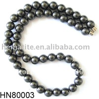 [  ] Hematite (Magnetic) Beads Necklace with Magnetic Clasp 18 inch Length
