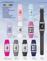 Model FT-0**: LCD watch with stones on bezel