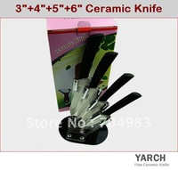 "Набор кухонных ножей YARCHBlack Blade 6PCS/set, 3""/4""/5""/6""+peeler +Knife holder Mirro Ceramic Knife sets with color box, CE FDA certified"