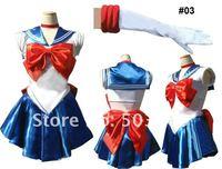 Japan Cartoon Sailor Moon Serena Dress with Glove cosplay Costume blue white #03 freeshipping