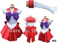 Sailor Moon Mars Raye Red Dress kid women lady Cosplay Costume #08 freeshipping