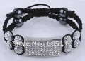 newest styles crystal shamballa bracelet with square flat  double lined shamballa beads