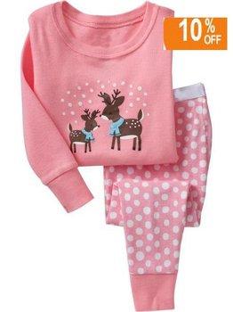 6pcs/lot Baby Underwear Cotton long shirts + long trousers Pajamas free shipping Pink deer