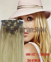 18''-28'' 7 pcs100% human Hair Extensions  clip in   on hair extensions  #27/613, 120g
