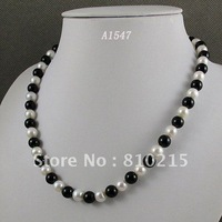 Stunning! AA 7-8MM White Color Freshwater Pearl & Black Agate Necklace Fashion Women's Jewelry Wholesale Free Shipping  A1547