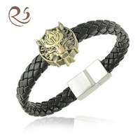 B1191 Stainless Steel Wolf Head Style Braclet With Magnetic Clasps Free Shiping