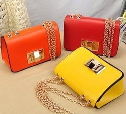 Trendy women fashion solid bag, red/orange/yellow bright colors ladies&#39; pu chain bags, beautiful small flap handbag, sling bag(China (Mainland))