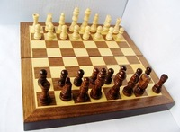 Free Shipping Classic Wood Folding Champions Chess Set Game,Wooden Chess Game