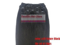 18''-28'' 10 pcs100% human Hair Extensions  clip in on hair extensions #1b, 180g