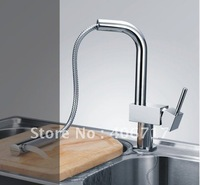 pull out kitchen faucet brass chrome sink tap hot and cold  high quality free shipping