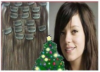 """low price 28"""" #2100g 6pcs jet black 100% real human hair clips in extensions real straight full head high quality"""