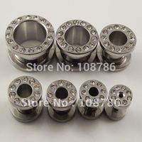 20pcs/lot Free Shipping Ear Plug Flesh Tunnels Ear Plugs Ring Steel Full rhinestone Stainless Steel Ear Plug