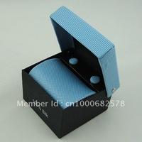 2014 Free shipping New Fashion Handmade polyester ties  Men's silk neckTie with box Necktie +cufflinks+handkerchief007