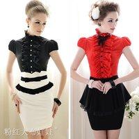 2012 summer slim elegant ruffle stand collar bow  short-sleeve women's shirt