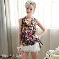 2012 summer multicolour flowers bandeaus chiffon sleeveless ladies shirt SIZE M