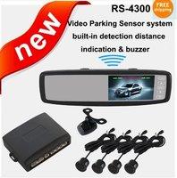 "Free Shipping!!4.3"" LCD Monitor Mirror+Car Reversing Rearview CameraVideo Parking Sensor System"