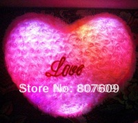 new pink rose  Colorful  LED light  pillow  Villus Battery  38*32 cm  holiday gift  free shipping flash toys
