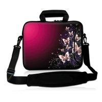 """17"""" 17.3"""" Pink Butterfly Neoprene Laptop Carrying Bag Sleeve Case Cover Holder w/ Side Pocket +Shoulder Strap"""