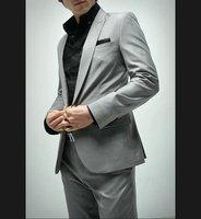 silver Fashion super high quality 160's suit Men Formal Business Notch Lapel shiny 100% wool STRIPES FREE FAST SHIP & TIE SET